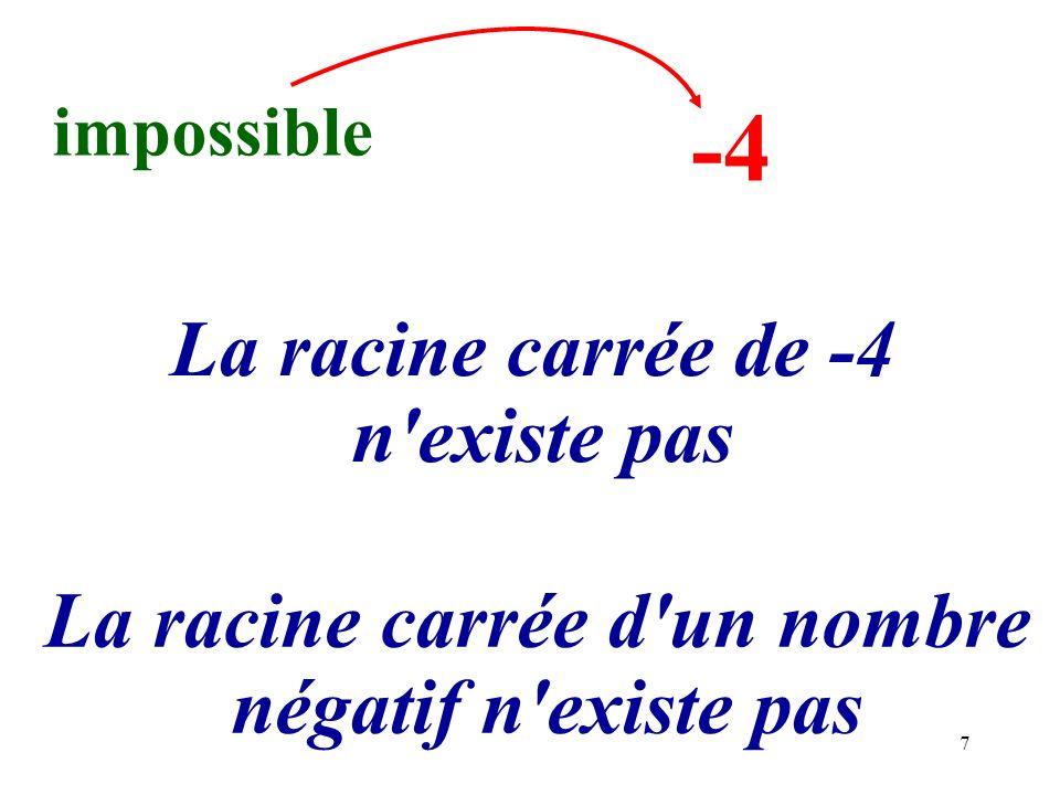 7 impossible -4 La racine carrée de -4 n'existe pas La racine carrée d'un nombre négatif n'existe pas