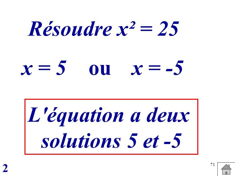 71 Résoudre x² = 25 x = 5oux = -5 L'équation a deux solutions 5 et -5 2