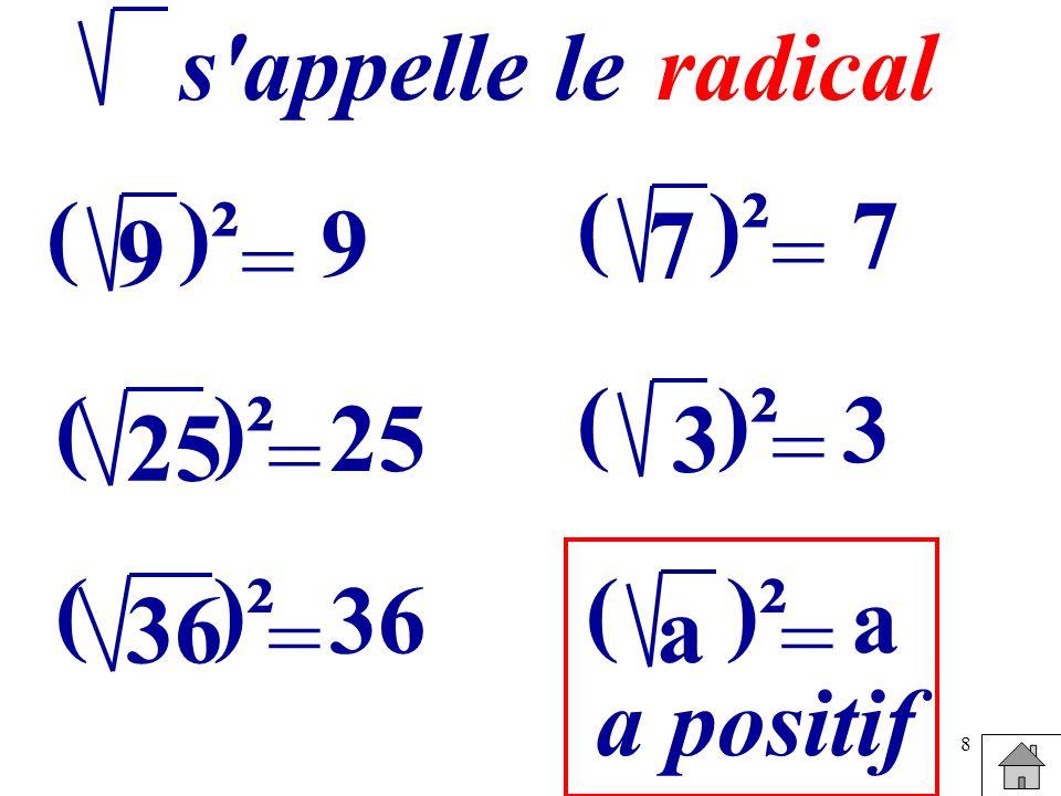 8 = 9 ()² 9 s'appelle leradical = 25 ()² 25 = 36 ()² 36 = 7 ()² 7 = 3 ( 3 = a ( a a positif