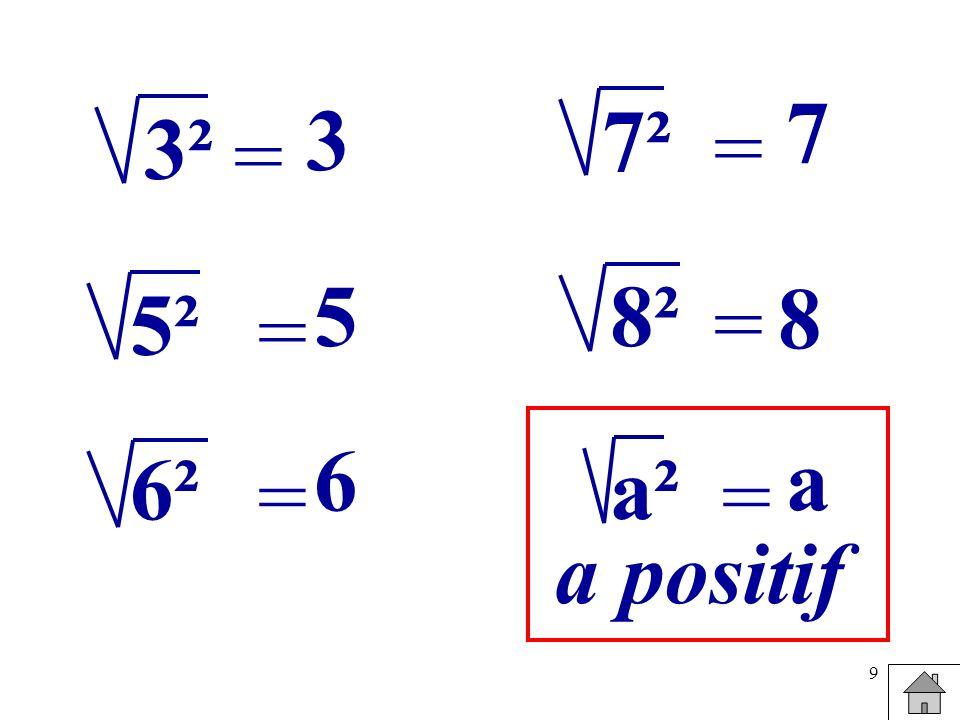9 = 3² 3 = 5² 5 = 6² 6 = 7² 7 = 8² 8 = a² a a positif