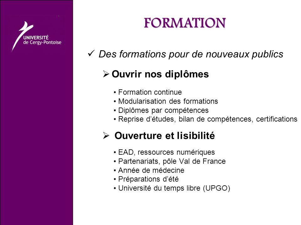 FORMATION Des formations pour de nouveaux publics Ouvrir nos diplômes Formation continue Modularisation des formations Diplômes par compétences Repris