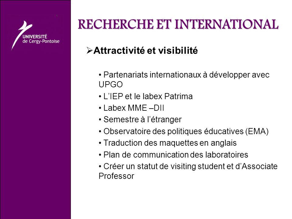 RECHERCHE ET INTERNATIONAL Attractivité et visibilité Partenariats internationaux à développer avec UPGO LIEP et le labex Patrima Labex MME –DII Semes