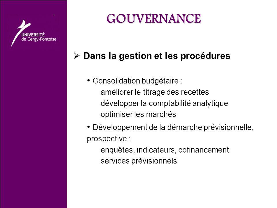 GOUVERNANCE Dans la gestion et les procédures Consolidation budgétaire : améliorer le titrage des recettes développer la comptabilité analytique optimiser les marchés Développement de la démarche prévisionnelle, prospective : enquêtes, indicateurs, cofinancement services prévisionnels