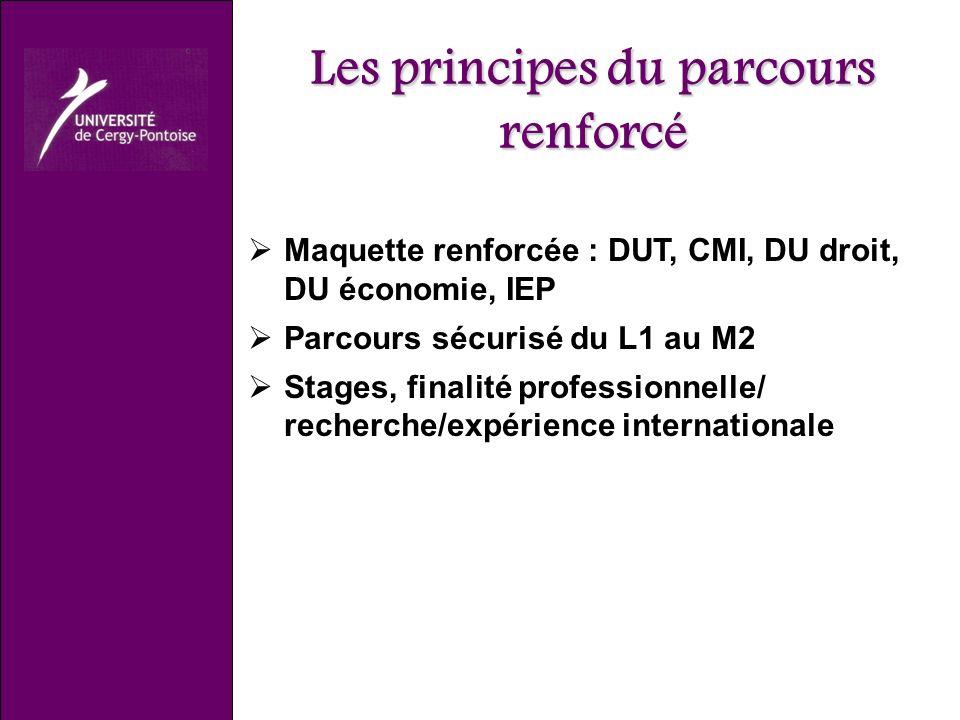 Les principes du parcours renforcé Maquette renforcée : DUT, CMI, DU droit, DU économie, IEP Parcours sécurisé du L1 au M2 Stages, finalité professionnelle/ recherche/expérience internationale