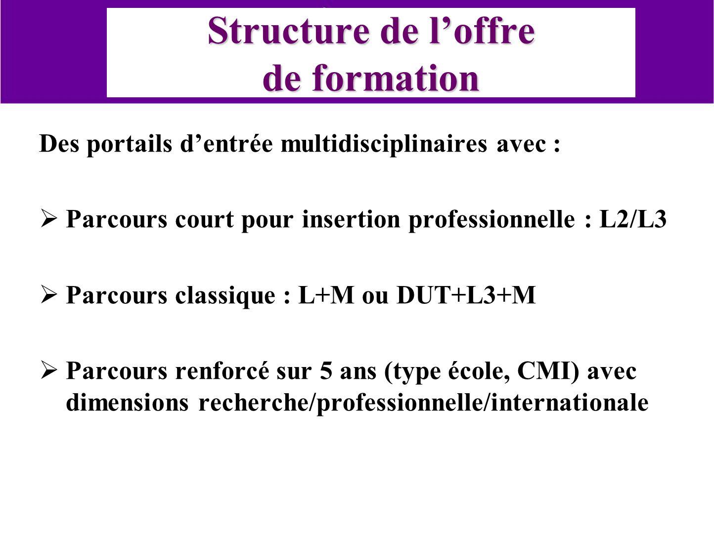 Structure de loffre de formation Des portails dentrée multidisciplinaires avec : Parcours court pour insertion professionnelle : L2/L3 Parcours classi
