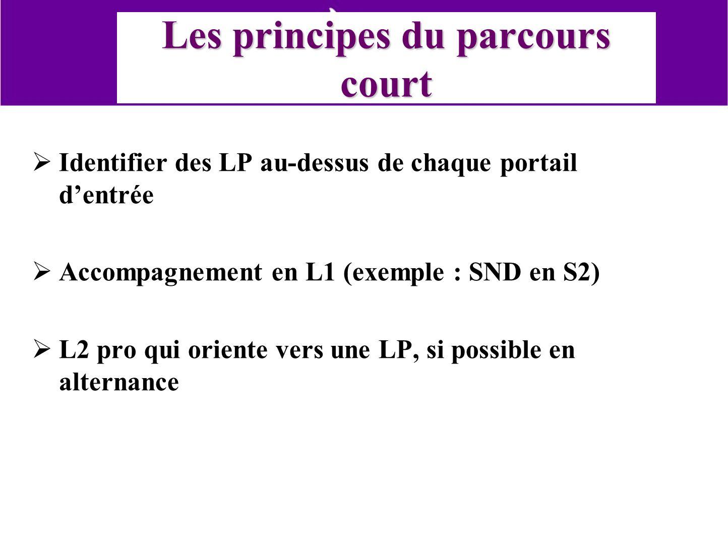 Les principes du parcours court Identifier des LP au-dessus de chaque portail dentrée Accompagnement en L1 (exemple : SND en S2) L2 pro qui oriente ve