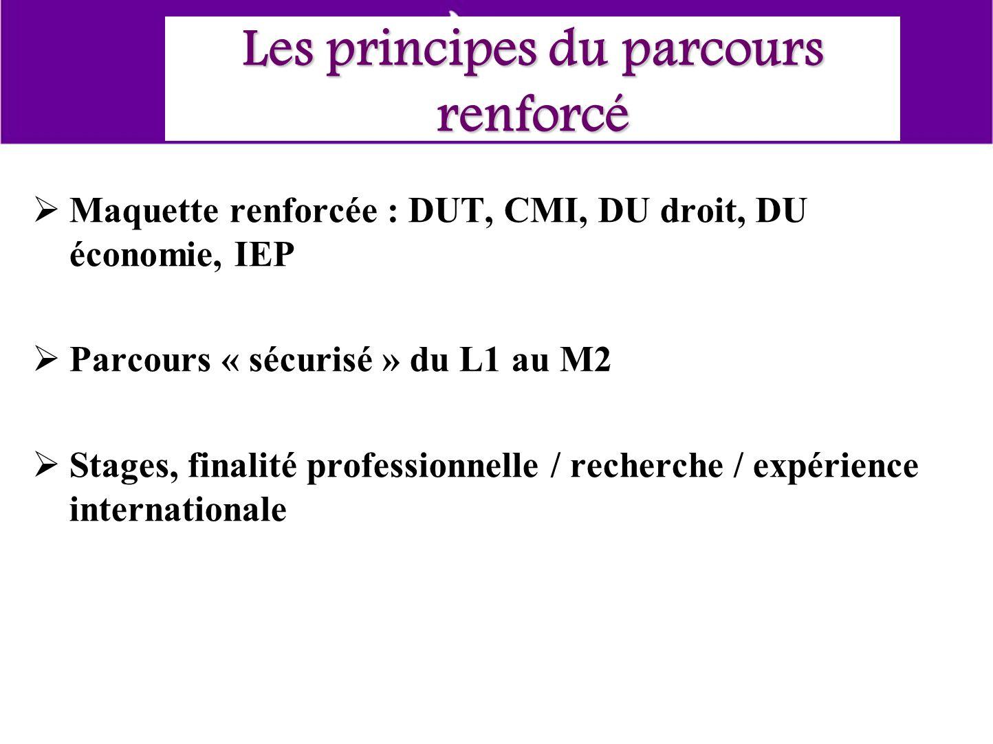 Les principes du parcours renforcé Maquette renforcée : DUT, CMI, DU droit, DU économie, IEP Parcours « sécurisé » du L1 au M2 Stages, finalité professionnelle / recherche / expérience internationale