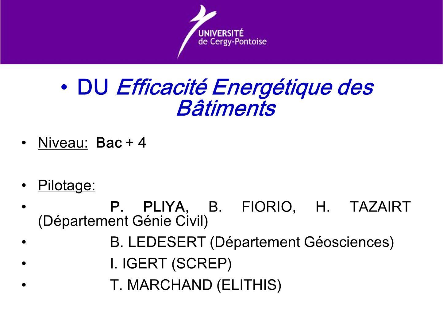 DU Efficacité Energétique des Bâtiments Niveau: Bac + 4 Pilotage: P. PLIYA, B. FIORIO, H. TAZAIRT (Département Génie Civil) B. LEDESERT (Département G