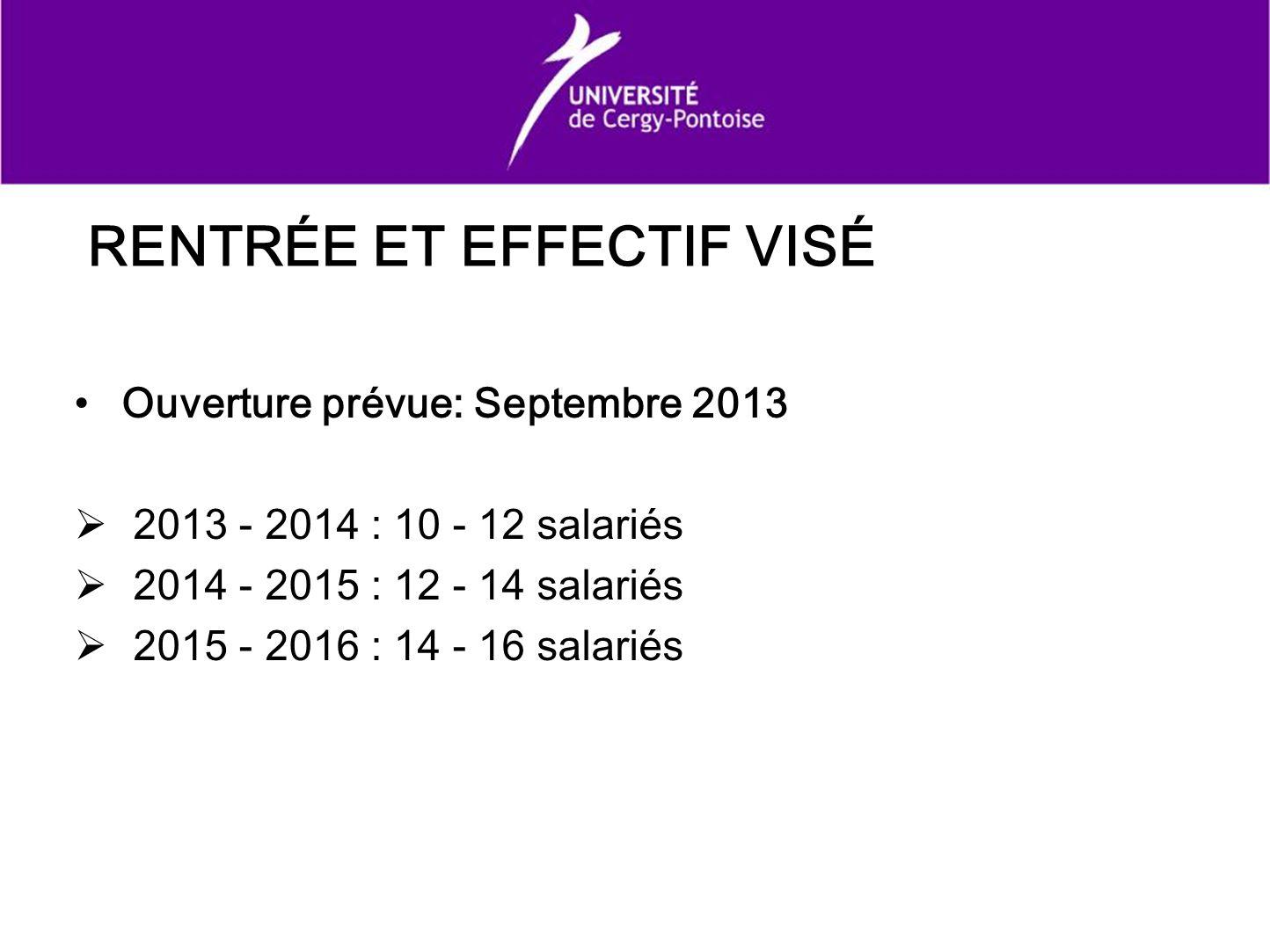 RENTRÉE ET EFFECTIF VISÉ Ouverture prévue: Septembre 2013 2013 - 2014 : 10 - 12 salariés 2014 - 2015 : 12 - 14 salariés 2015 - 2016 : 14 - 16 salariés