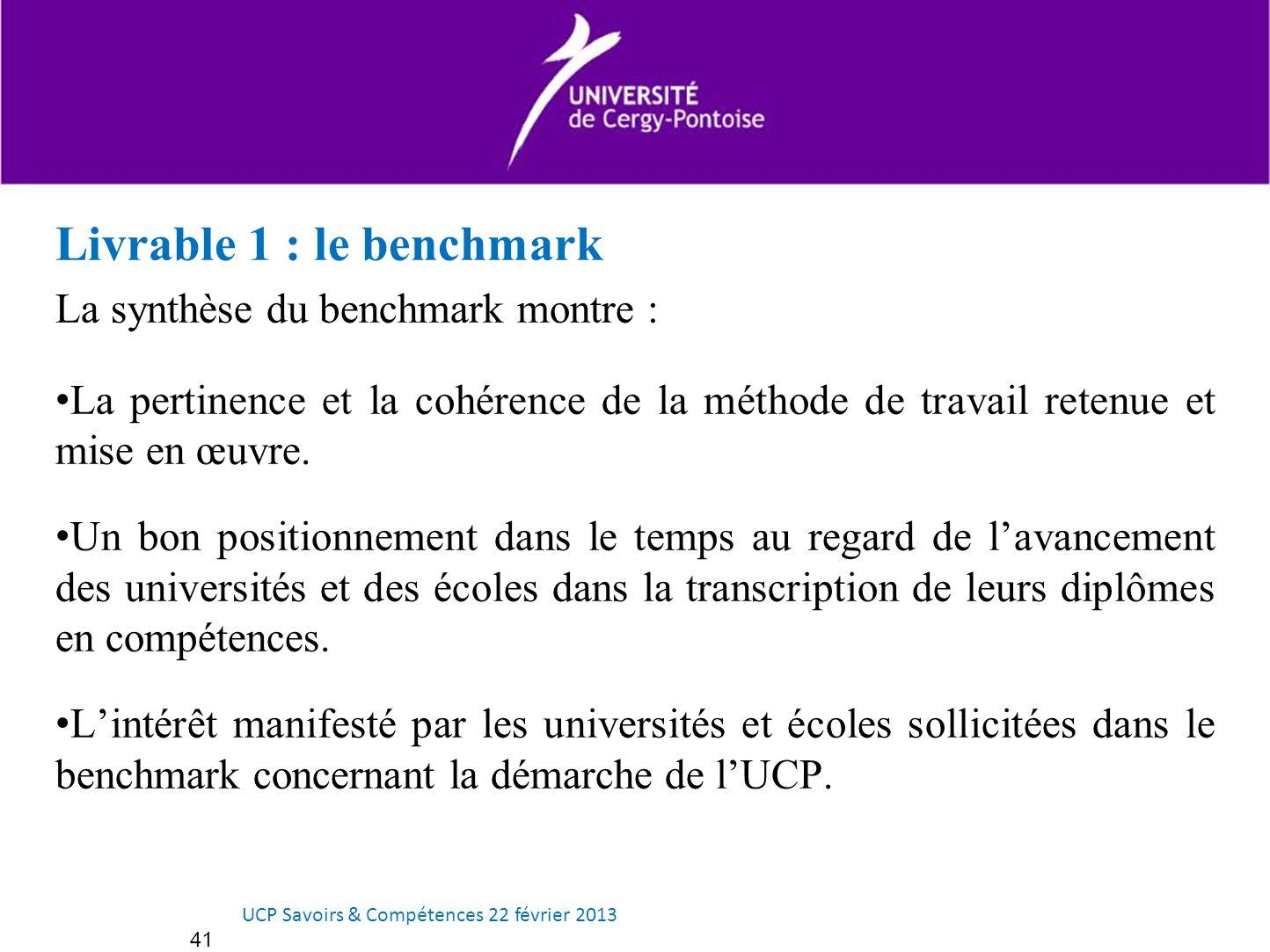 Livrable 1 : le benchmark La synthèse du benchmark montre : La pertinence et la cohérence de la méthode de travail retenue et mise en œuvre. Un bon po