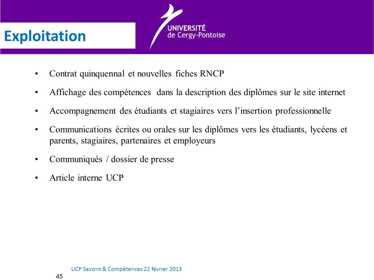 Exploitation Contrat quinquennal et nouvelles fiches RNCP Affichage des compétences dans la description des diplômes sur le site internet Accompagneme