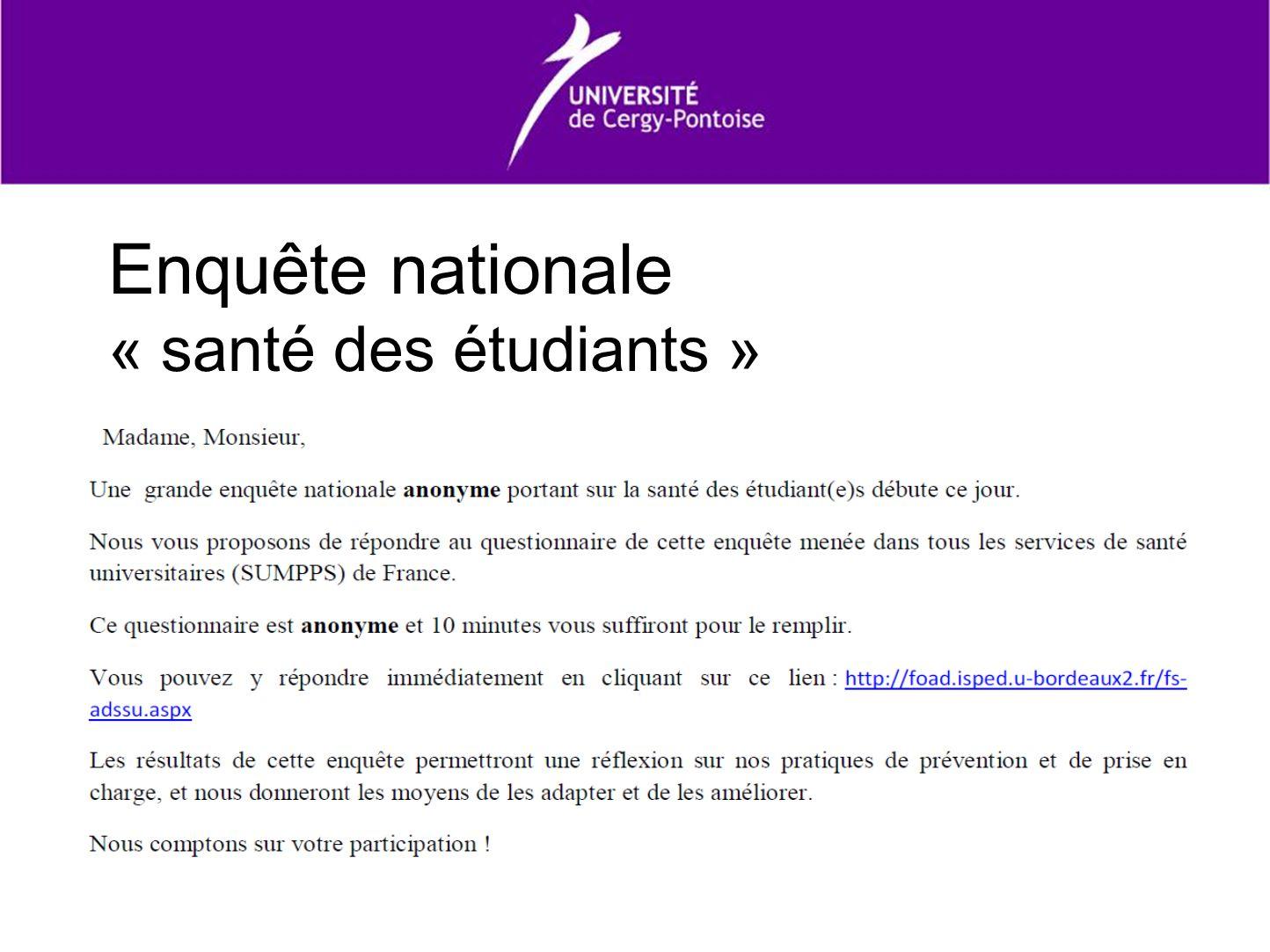 Enquête nationale « santé des étudiants »