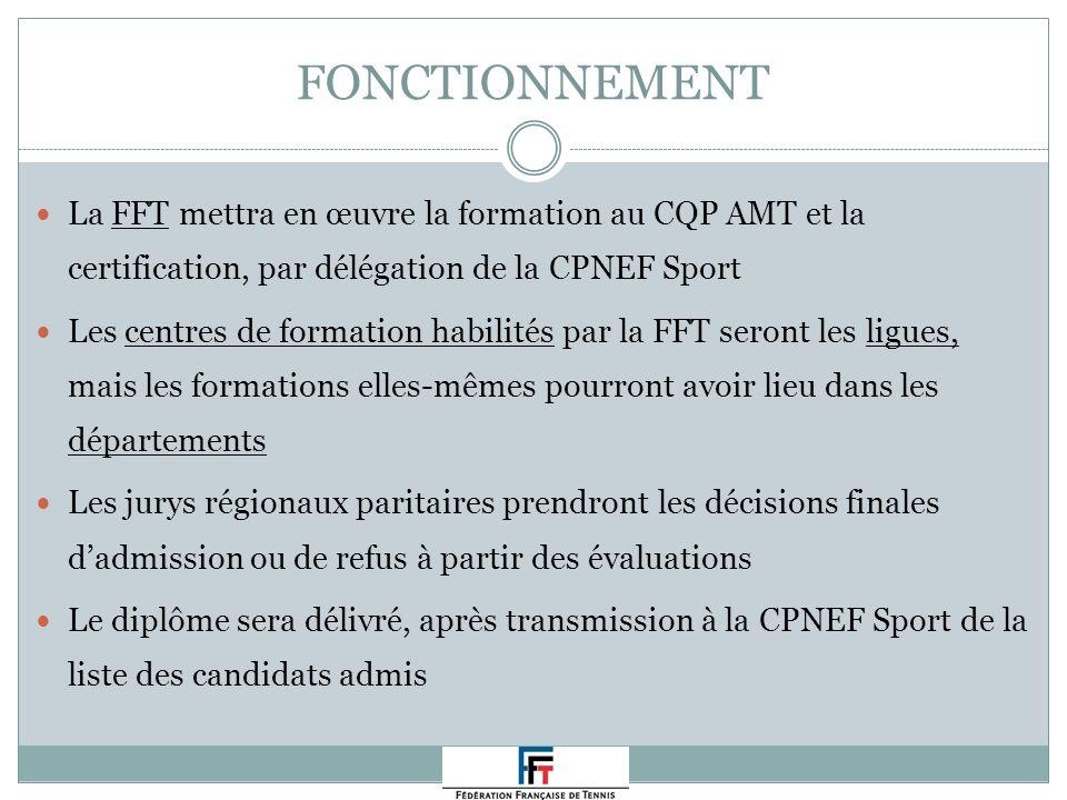 FONCTIONNEMENT La FFT mettra en œuvre la formation au CQP AMT et la certification, par délégation de la CPNEF Sport Les centres de formation habilités