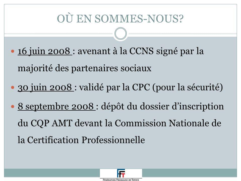 OÙ EN SOMMES-NOUS? 16 juin 2008 : avenant à la CCNS signé par la majorité des partenaires sociaux 30 juin 2008 : validé par la CPC (pour la sécurité)