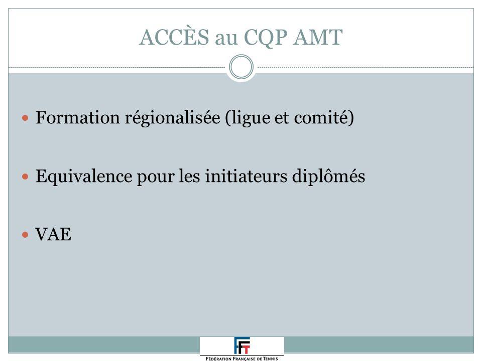 ACCÈS au CQP AMT Formation régionalisée (ligue et comité) Equivalence pour les initiateurs diplômés VAE