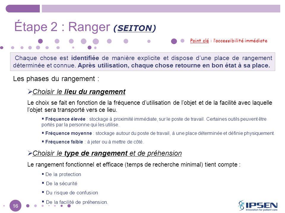 16 Étape 2 : Ranger (SEITON) Point clé : laccessibilité immédiate Les phases du rangement : Choisir le lieu du rangement Le choix se fait en fonction