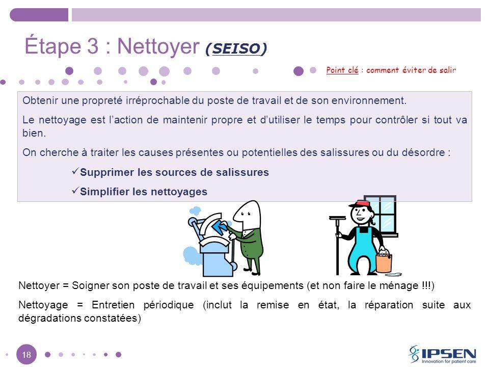 18 Étape 3 : Nettoyer (SEISO) Point clé : comment éviter de salir Obtenir une propreté irréprochable du poste de travail et de son environnement. Le n