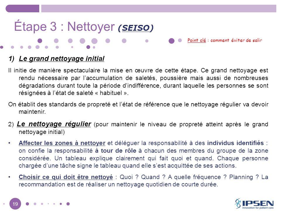 19 Étape 3 : Nettoyer (SEISO) Point clé : comment éviter de salir 1)Le grand nettoyage initial Il initie de manière spectaculaire la mise en œuvre de