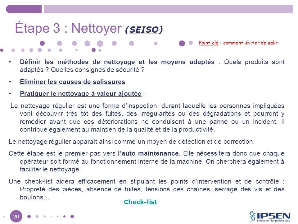 20 Étape 3 : Nettoyer (SEISO) Point clé : comment éviter de salir Définir les méthodes de nettoyage et les moyens adaptés : Quels produits sont adapté