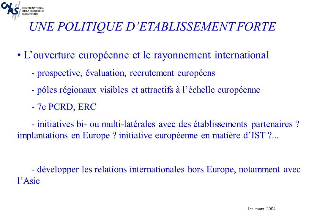 1er mars 2004 Louverture européenne et le rayonnement international - prospective, évaluation, recrutement européens - pôles régionaux visibles et attractifs à léchelle européenne - 7e PCRD, ERC - initiatives bi- ou multi-latérales avec des établissements partenaires .