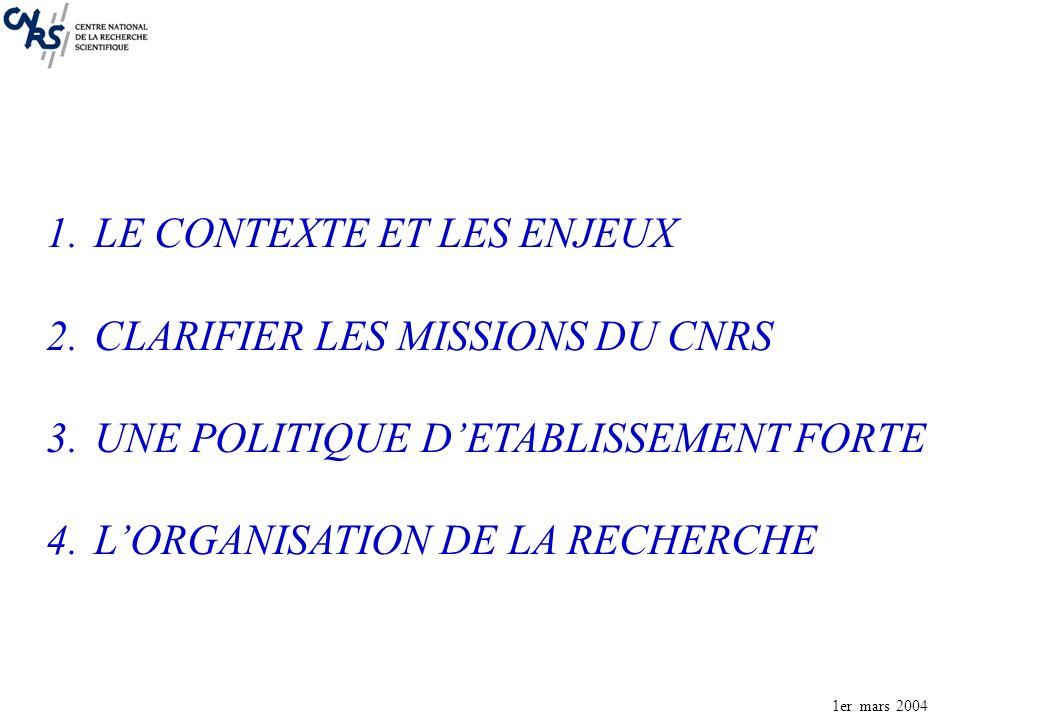 1er mars 2004 1.LE CONTEXTE ET LES ENJEUX 2.CLARIFIER LES MISSIONS DU CNRS 3.UNE POLITIQUE DETABLISSEMENT FORTE 4.LORGANISATION DE LA RECHERCHE