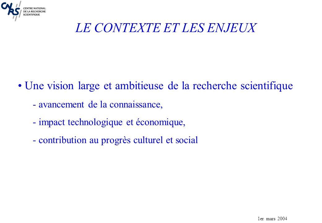 1er mars 2004 Une vision large et ambitieuse de la recherche scientifique - avancement de la connaissance, - impact technologique et économique, - contribution au progrès culturel et social LE CONTEXTE ET LES ENJEUX