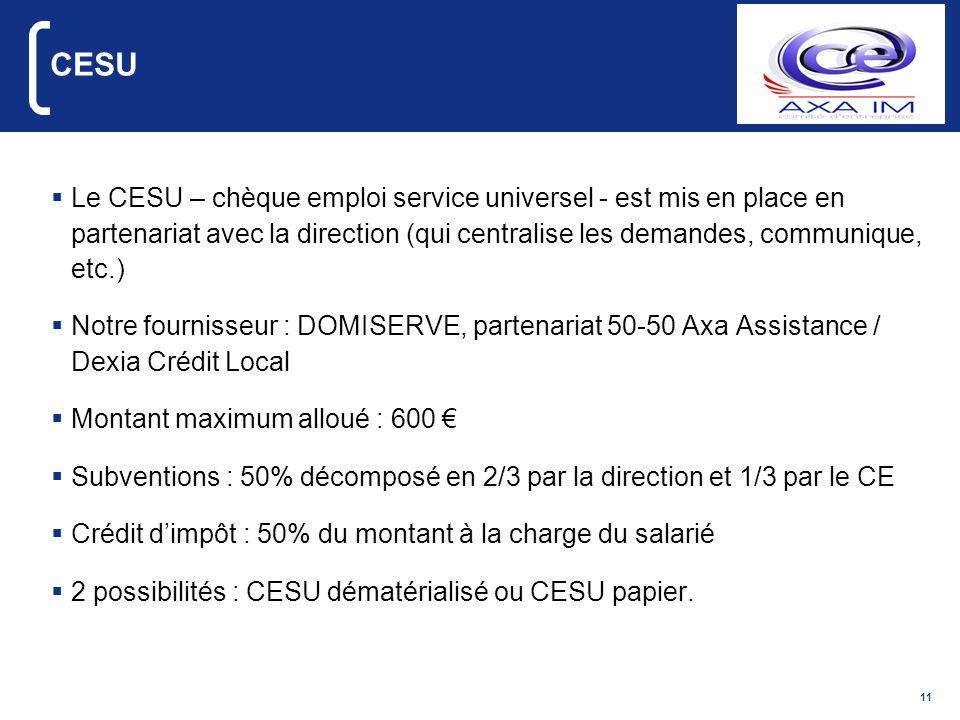 11 CESU Le CESU – chèque emploi service universel - est mis en place en partenariat avec la direction (qui centralise les demandes, communique, etc.)