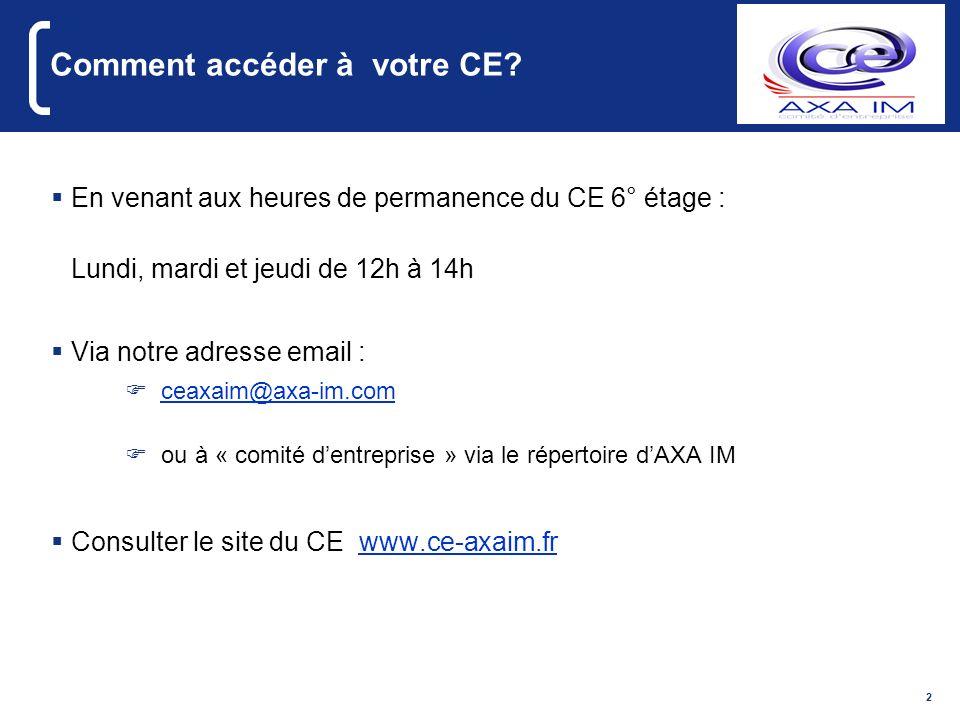 2 Comment accéder à votre CE? En venant aux heures de permanence du CE 6° étage : Lundi, mardi et jeudi de 12h à 14h Via notre adresse email : ceaxaim
