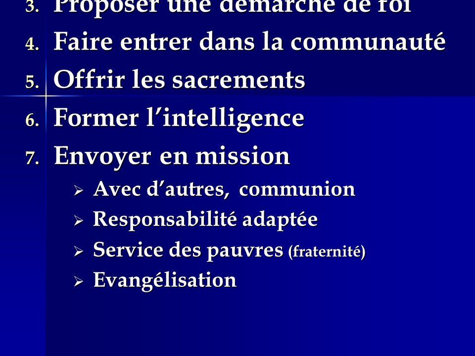 1. Accueillir et servir 2. Annoncer le Christ 3.