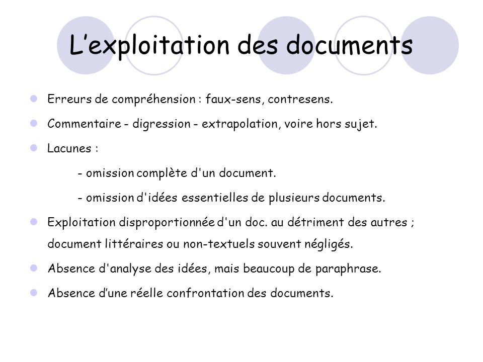 Lexploitation des documents Erreurs de compréhension : faux-sens, contresens.