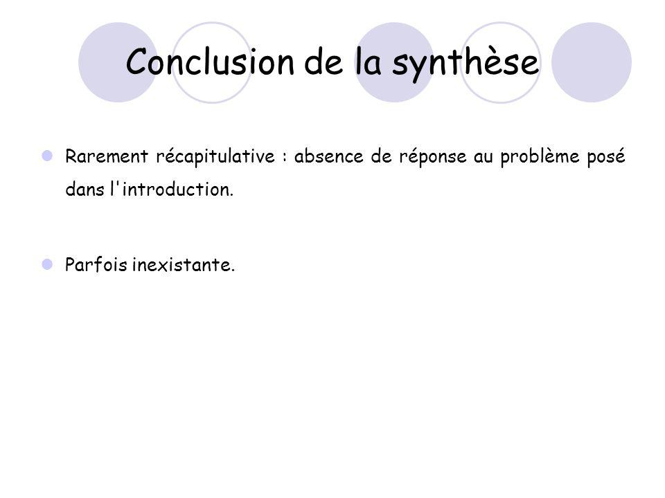 Conclusion de la synthèse Rarement récapitulative : absence de réponse au problème posé dans l introduction.