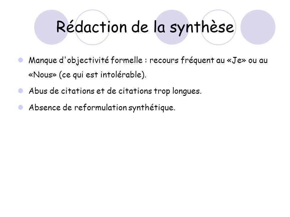 Rédaction de la synthèse Manque d objectivité formelle : recours fréquent au «Je» ou au «Nous» (ce qui est intolérable).