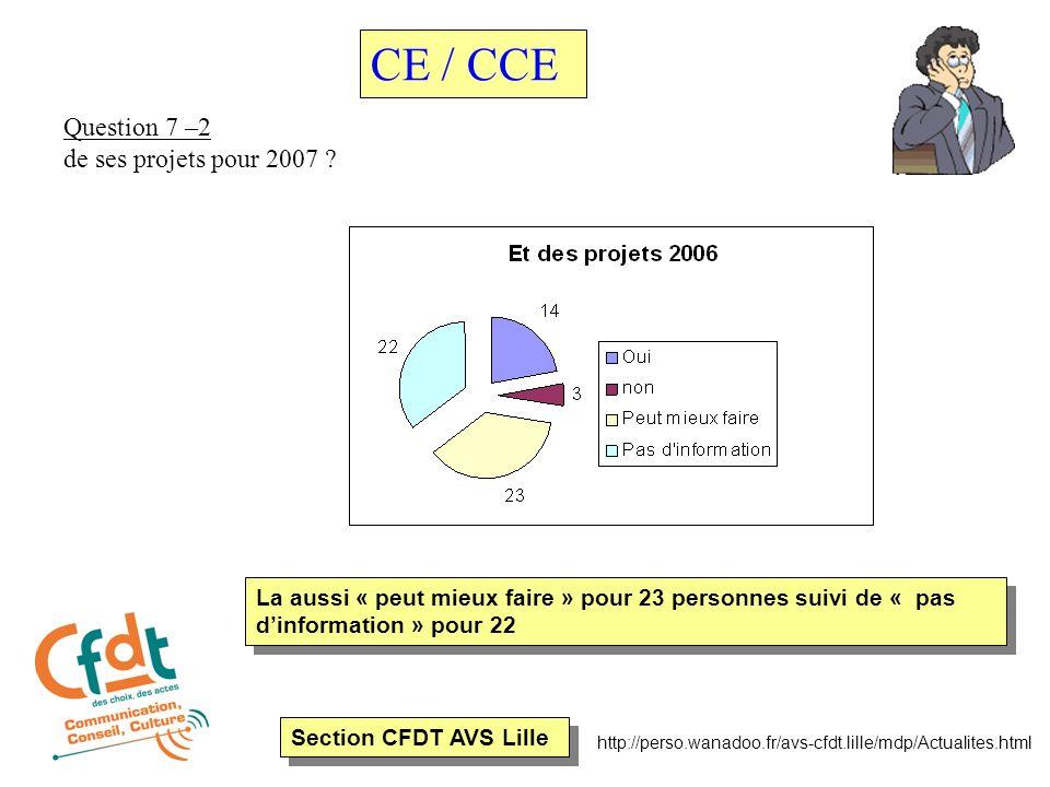 Section CFDT AVS Lille http://perso.wanadoo.fr/avs-cfdt.lille/mdp/Actualites.html Question 7 –2 de ses projets pour 2007 ? CE / CCE La aussi « peut mi