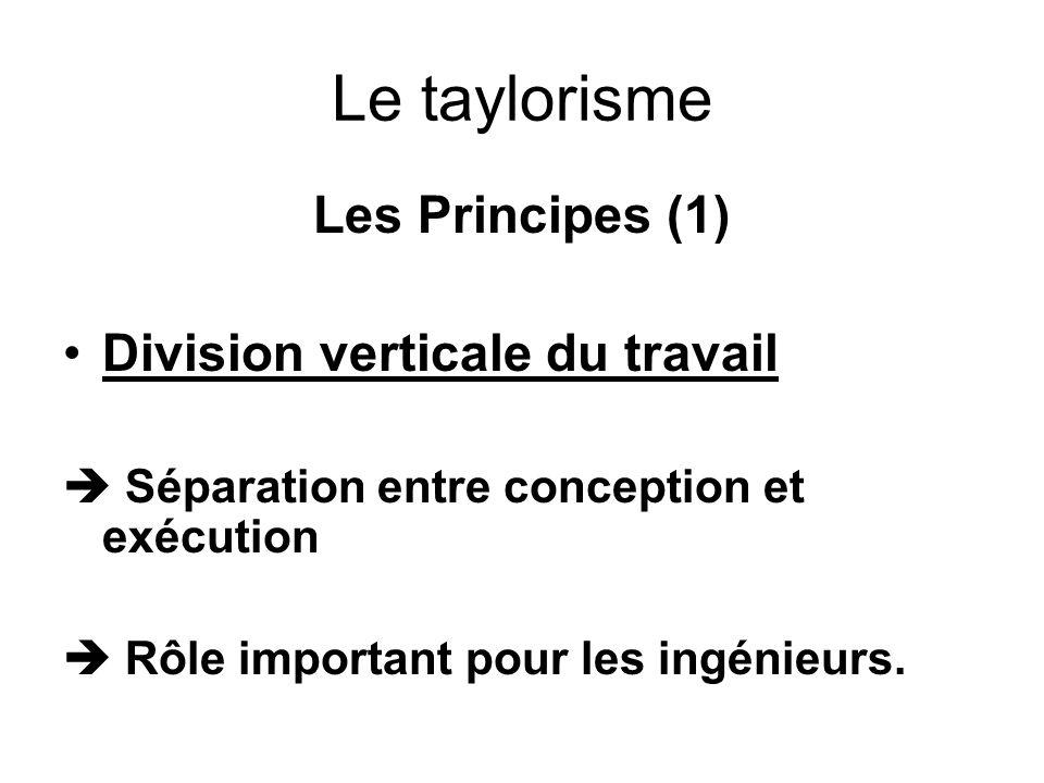 Le taylorisme Les Principes (1) Division verticale du travail Séparation entre conception et exécution Rôle important pour les ingénieurs.