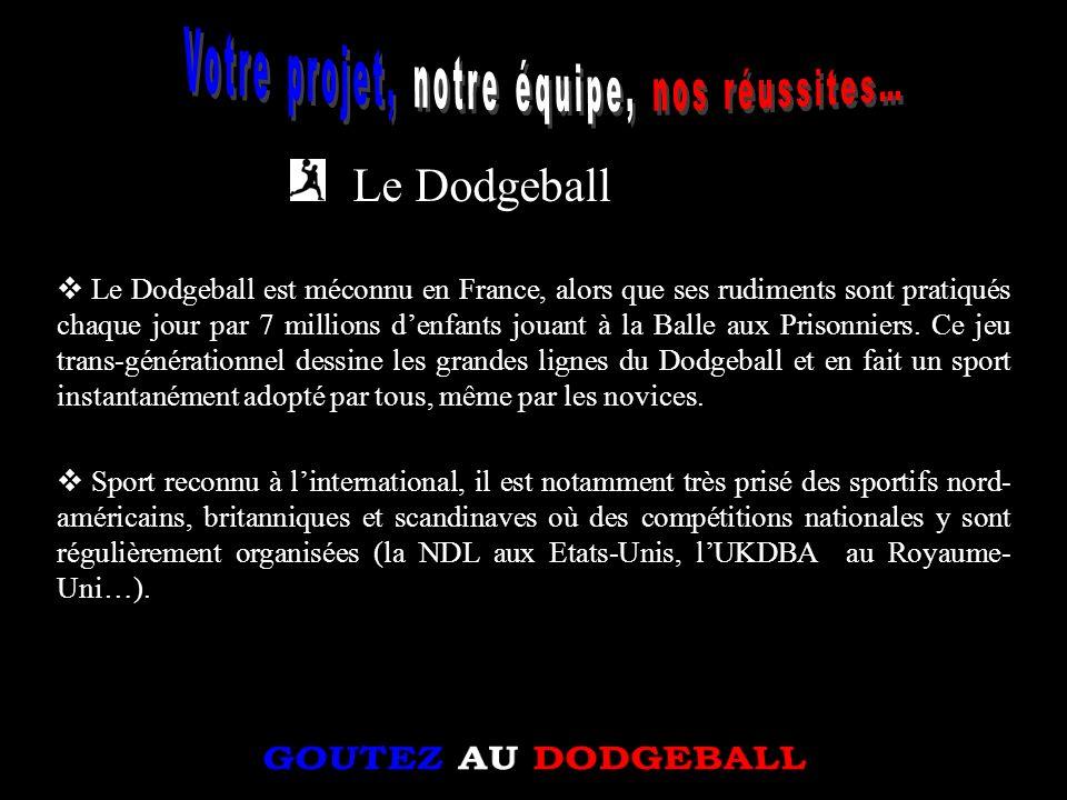 Le Dodgeball Le Dodgeball est méconnu en France, alors que ses rudiments sont pratiqués chaque jour par 7 millions denfants jouant à la Balle aux Pris