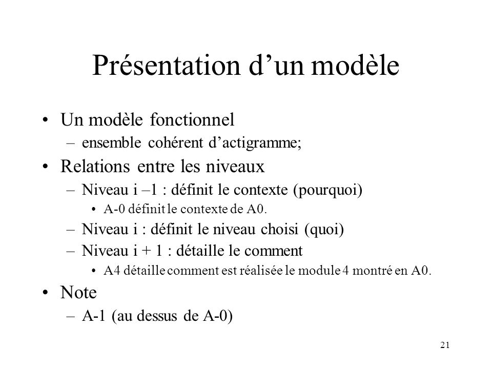 21 Présentation dun modèle Un modèle fonctionnel –ensemble cohérent dactigramme; Relations entre les niveaux –Niveau i –1 : définit le contexte (pourq