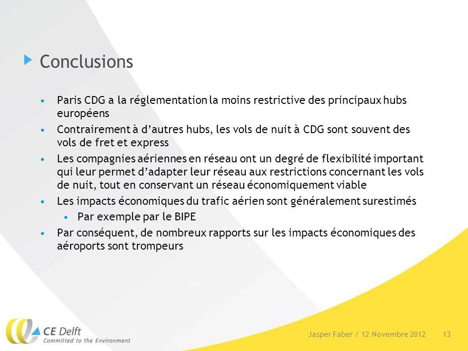 Conclusions Paris CDG a la réglementation la moins restrictive des principaux hubs européens Contrairement à dautres hubs, les vols de nuit à CDG sont