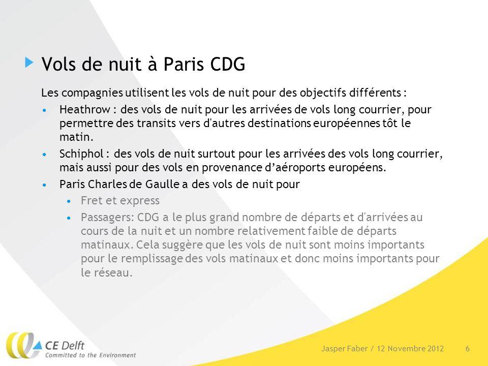 Vols de nuit à Paris CDG Les compagnies utilisent les vols de nuit pour des objectifs différents : Heathrow : des vols de nuit pour les arrivées de vo