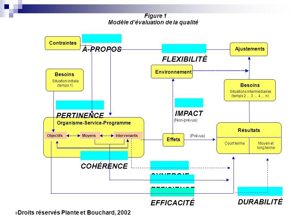 Besoins Situations intermédiaires (temps 2... 3... 4... n) © Droits réservés Plante et Bouchard, 2002 Figure 1 Modèle dévaluation de la qualité Effets