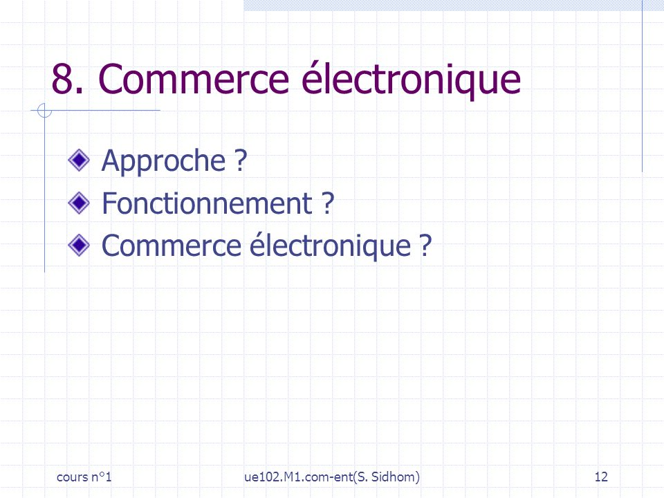 cours n°1ue102.M1.com-ent(S. Sidhom)12 8. Commerce électronique Approche ? Fonctionnement ? Commerce électronique ?
