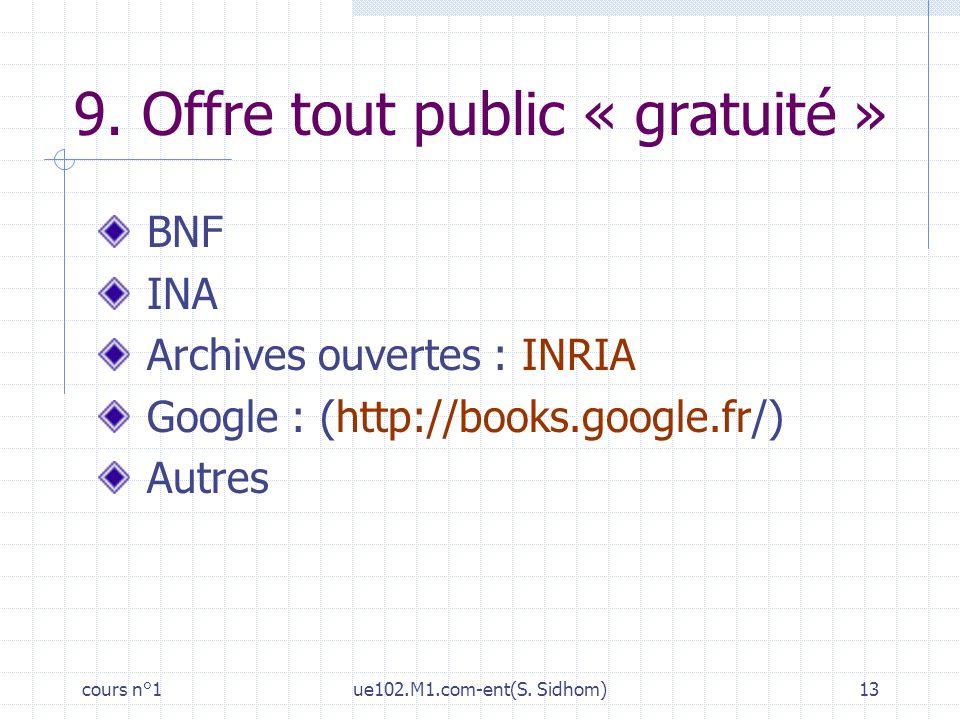cours n°1ue102.M1.com-ent(S. Sidhom)13 9. Offre tout public « gratuité » BNF INA Archives ouvertes : INRIA Google : (http://books.google.fr/) Autres