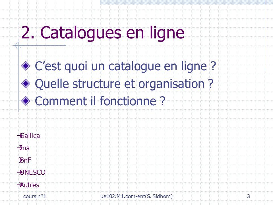 cours n°1ue102.M1.com-ent(S. Sidhom)3 2. Catalogues en ligne Cest quoi un catalogue en ligne ? Quelle structure et organisation ? Comment il fonctionn