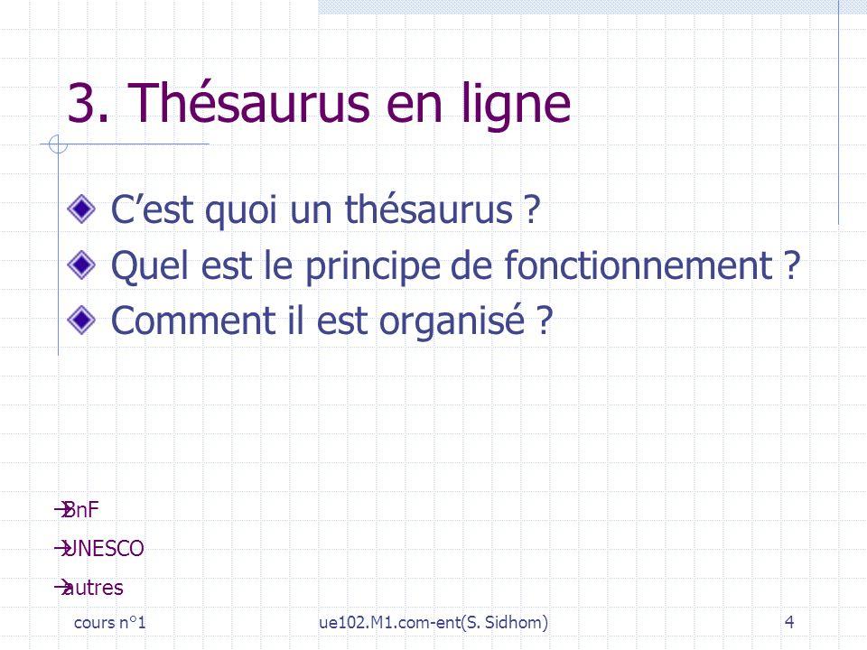 cours n°1ue102.M1.com-ent(S. Sidhom)4 3. Thésaurus en ligne Cest quoi un thésaurus ? Quel est le principe de fonctionnement ? Comment il est organisé