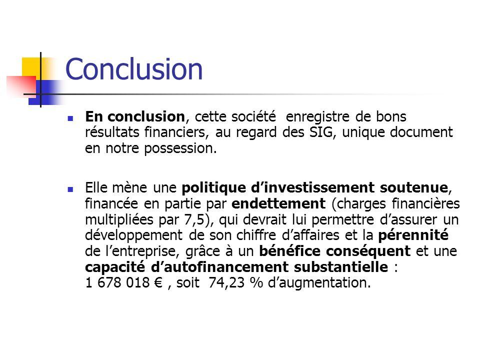 Conclusion En conclusion, cette société enregistre de bons résultats financiers, au regard des SIG, unique document en notre possession.