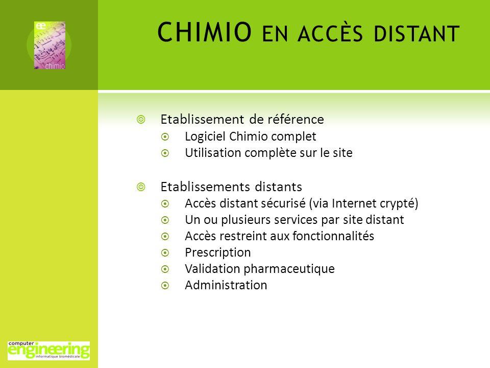 CHIMIO EN ACCÈS DISTANT Etablissement de référence Logiciel Chimio complet Utilisation complète sur le site Etablissements distants Accès distant sécu