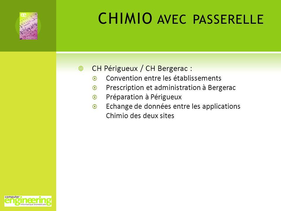 CHIMIO AVEC PASSERELLE CH Périgueux / CH Bergerac : Convention entre les établissements Prescription et administration à Bergerac Préparation à Périgu