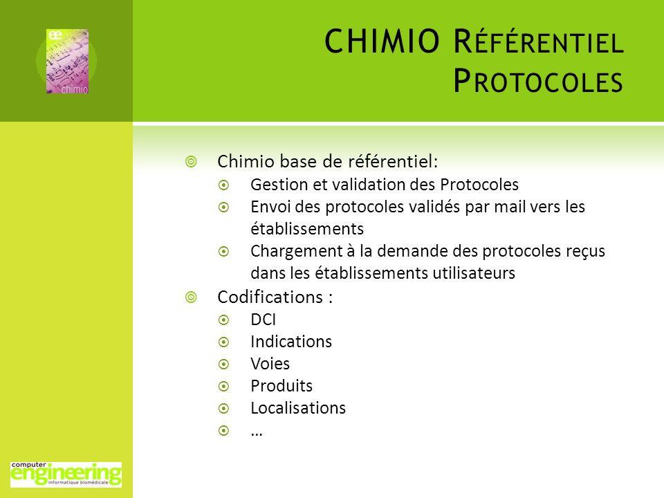 Chimio base de référentiel: Gestion et validation des Protocoles Envoi des protocoles validés par mail vers les établissements Chargement à la demande