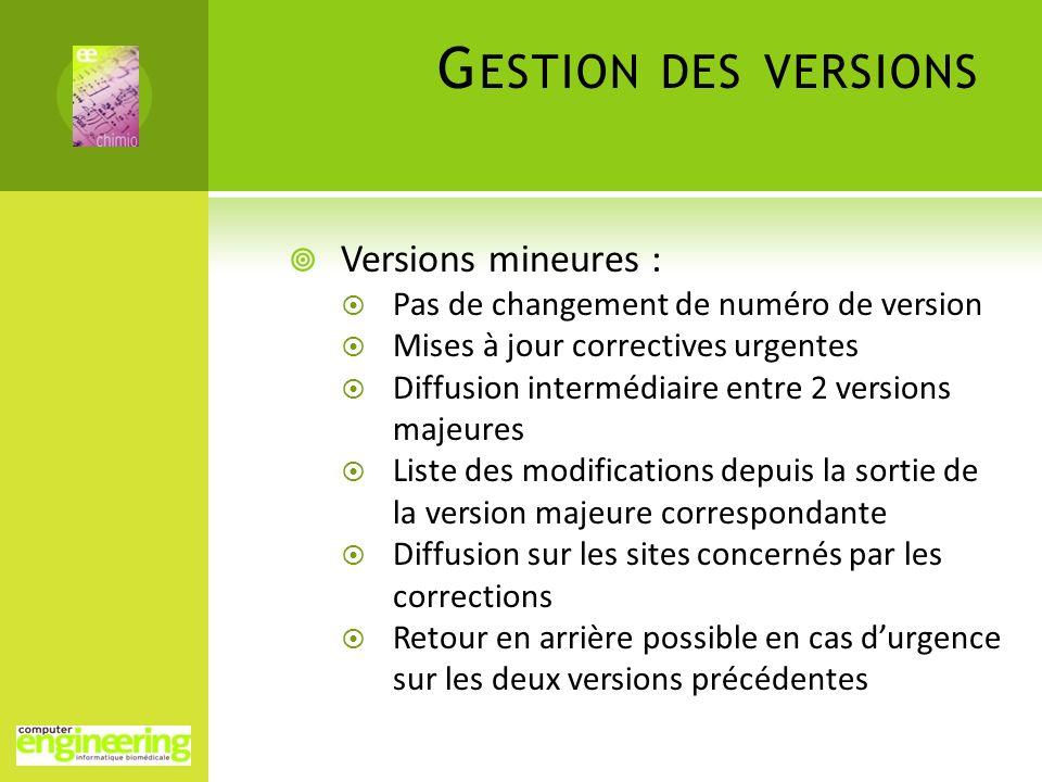 G ESTION DES VERSIONS Versions mineures : Pas de changement de numéro de version Mises à jour correctives urgentes Diffusion intermédiaire entre 2 ver