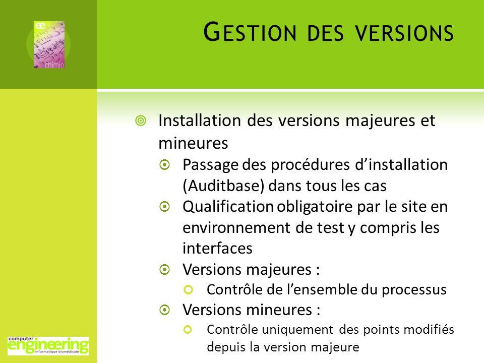 G ESTION DES VERSIONS Installation des versions majeures et mineures Passage des procédures dinstallation (Auditbase) dans tous les cas Qualification