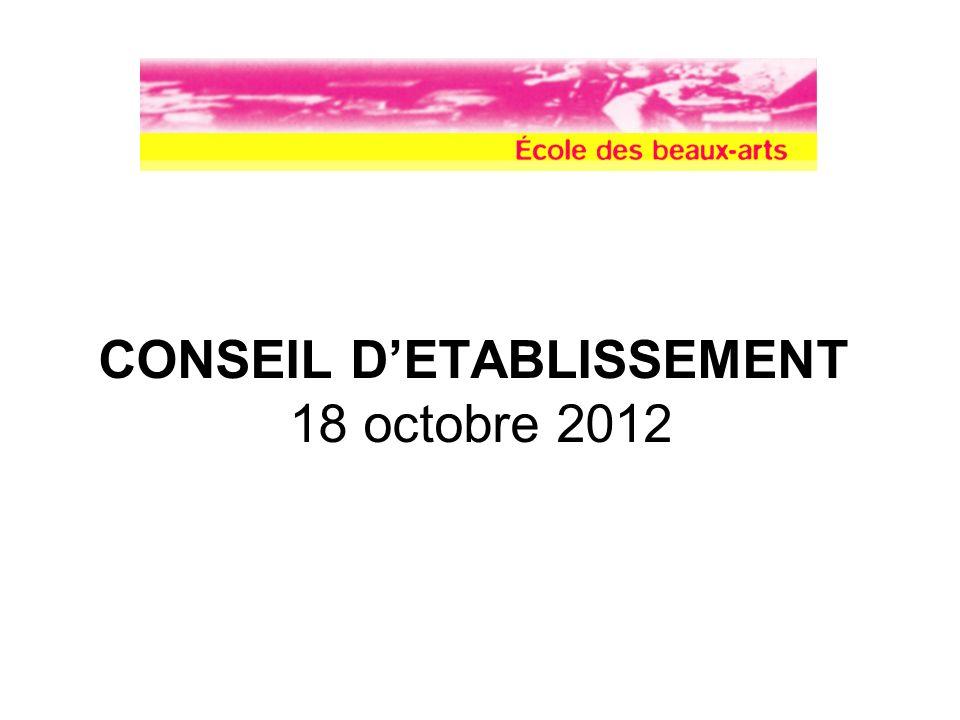 CONSEIL DETABLISSEMENT 18 octobre 2012